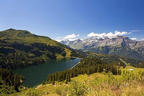 Garichti Reservoir with Glaernisch Mountain, Canton of Glarus, Switzerland, Europe