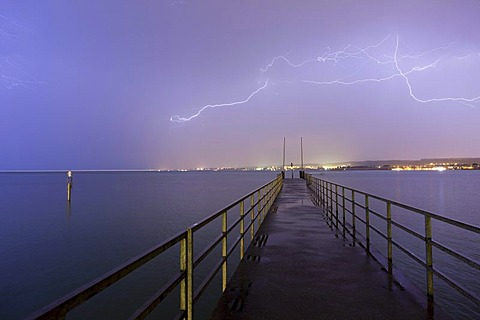Pier and thunderstorms on Lake Constance, Germany, Europe