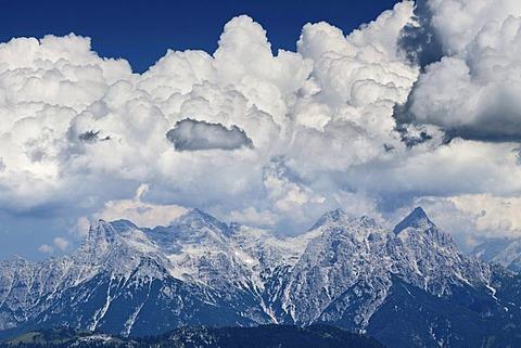 View from the Kitzbueheler Horn on the Wilder Kaiser range, Tyrol, Austria, Europe