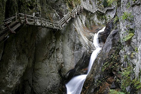 Boardwalks for visitors to the waterfalls in a steep gorge, Gorges du Durnand, Great St Bernard Pass, Valais, Switzerland, Europe