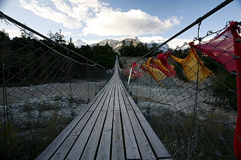 Buthan-Bridge over Illgraben, most dangerous mountain torrent of Switzerland, Natural Park Pfynwald, Pfyn-Finges, Valais, Switzerland, Europe