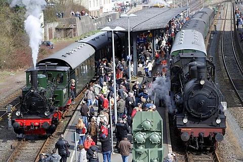 Dampfspektakel 2010 steam train show at Gerolstein station, Prussian engine T11-Hannover 7512, left, and steam engine 2455 Posen, right, Gerolstein, Rhineland-Palatinate, Germany, Europe