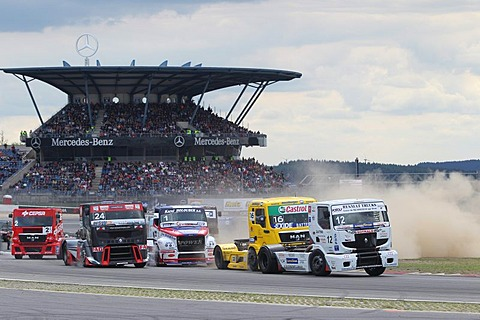 ADAC Truck Grand Prix Nuerburgring 2010, start of the European Truck Racing Championships, Anthony Janiec, front, Alex Lvov, right, Nuerburgring race track, Rhineland-Palatinate, Germany, Europe