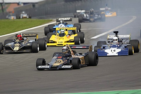 Race of the historic Formula 1 cars, in front Peter Wuensch in the Wolf WR 1, 1977, Oldtimer-Grand-Prix 2010 for vintage cars at the Nurburgring race track, Rhineland-Palatinate, Germany, Europe
