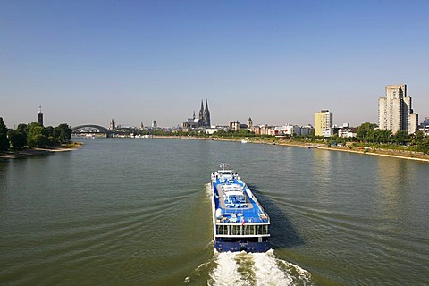 Rhine River, looking towards the Messeturm, trade fair tower, Hohenzollernbruecke Bridge, Cologne Cathedral, Cologne, North Rhine-Westphalia, Germany, Europe