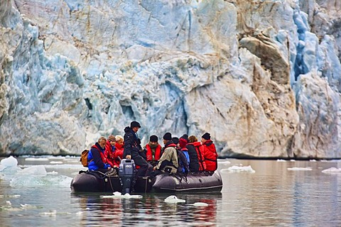 Ice, fjord, Zodiac rubber boat in front of a glacier, ice edge, Svalbard, Spitsbergen, Norway
