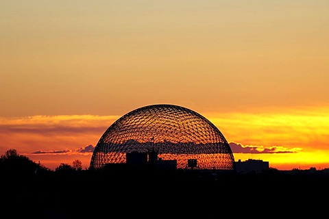 The Biosphere of Environment Canada, water and environment museum at sunrise, Montreal, Quebec, Canada