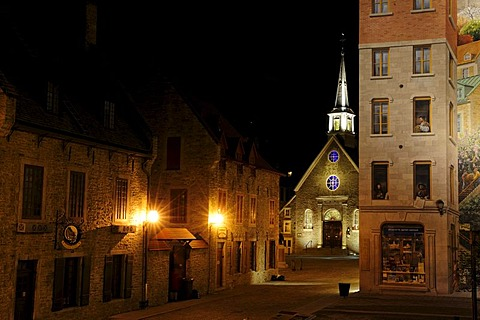 Place Royal square and the Eglise Notre-Dame-des-Victoires church in the historic old town of Quebec City, Quebec, Canada