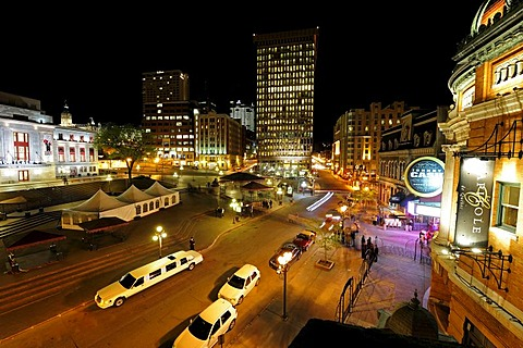 Night life on the Place d'Youville square, Quebec City, Quebec, Canada