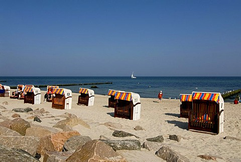 Beach chairs on the beach of Kuehlungsborn on the Baltic Sea, Mecklenburg-Western Pomerania, Germany, Europe
