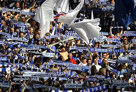 Schalke soccer fans standing in the Nordkurve fan block, Gelsenkirchen, North Rhine-Westphalia, Germany, Europe