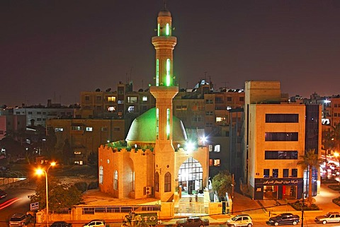 Illuminated mosque at night, Amman, capital of Jordan, Hashemite Kingdom of Jordan, Middle East