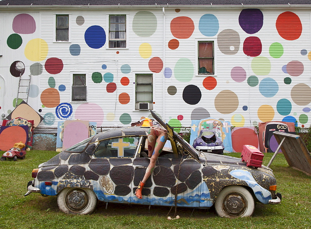 Art work at the Heidelberg Project, an outdoor public art project in a depressed neighborhood of Detroit created by artist Tyree Guyton, Detroit, Michigan, USA, America