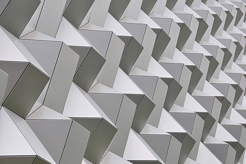 Honeycomb structure on the facade of the Centrum Galerie mall, Dresden, Saxony, Germany, Europe