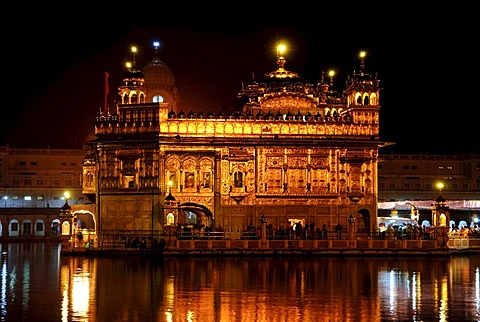 Golden Temple, night, reflection, Amritsar, India, Asia