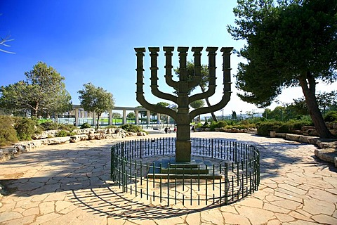 Chanukah or Hanukkah candelabra outside the Knesset, Jerusalem, Israel, Middle East