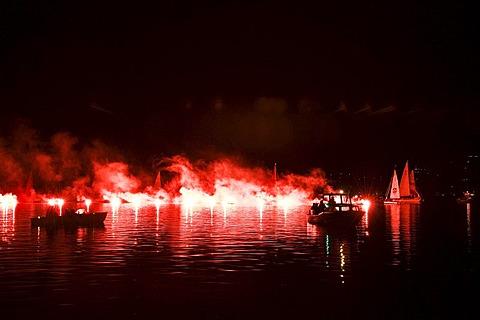 Fireworks at Tegernsee lake, Bad Wiessee, Bavaria, Germany, Europe