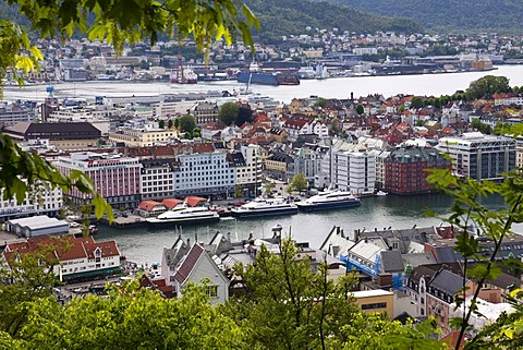 View over Bergen from the mountain of Fl¯yen or Fl¯yfjellet, Norway, Scandinavia, Europe