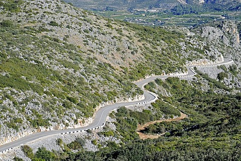 Country road, mountain road, Marina Alta area, Costa Blanca, Alicante province, Spain, Europe