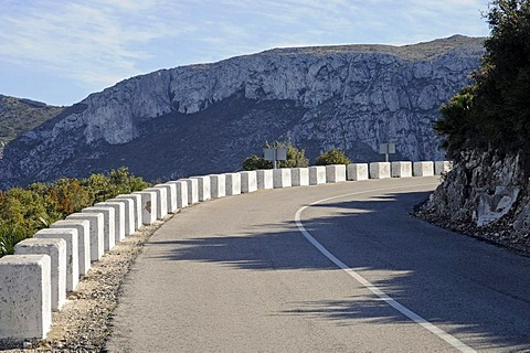 Country road, mountain road, bend, landscape, Marina Alta area, Costa Blanca, Alicante province, Spain, Europe