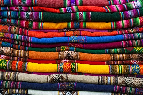 Stacked Peruvian and Bolivian fabrics, Peru, Bolivia, South America - 832-155826