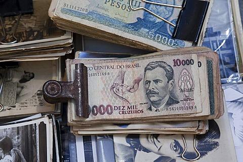 Former Brazilian currency, cruzeiro, San Telmo Antiques Market, Plaza Dorrego, Buenos Aires, Argentina, South America