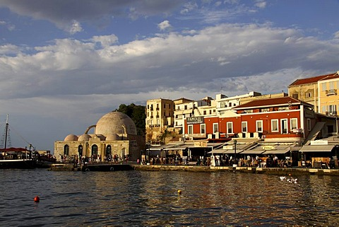 Janissaries mosque, Venetian Harbor, Chania, Crete, Greece, Europe