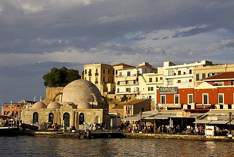 Janissary Mosque and promenade, Venetian Harbor, Chania, Crete, Greece, Europe