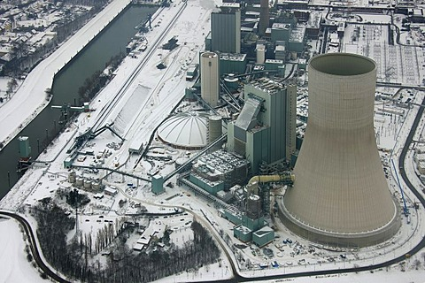 Aerial photo, cooling towers, construction site, Walsum Steal EVONIK STEAG coal power station, Snow, Duisburg, Rhein, North Rhine-Westphalia, Ruhr, Germany, Europe