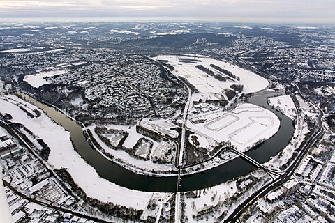 Aerial view, Ruhr peninsula in winter snow, Ueberruhr district, waterworks, Ruhr river bend, Essen, Ruhrgebiet region, North Rhine-Westphalia, Germany, Europe