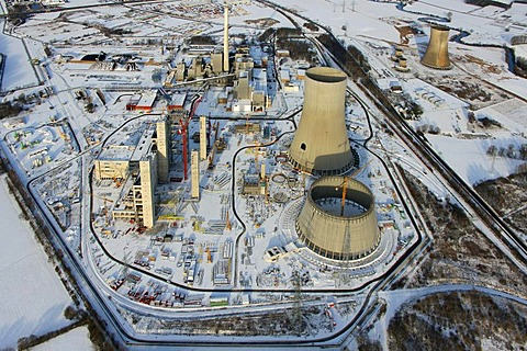 Aerial photo, building site, power plant construction, RWE Westfalen power plant, coal power plant, Hamm, Ruhr Area, North Rhine-Westphalia, Germany, Europe