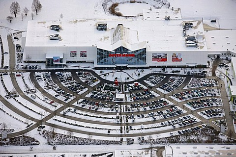 Aerial view, furniture store Ostermann, parking lot, snow, Witten, Ruhrgebiet region, North Rhine-Westphalia, Germany, Europe