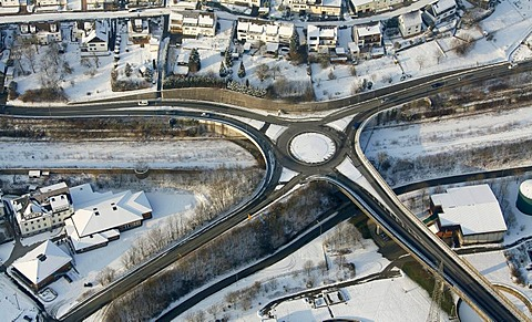 Aerial photo, street intersection in the snow in winter, Siegen, Sauerland, North Rhine-Westphalia, Germany, Europe