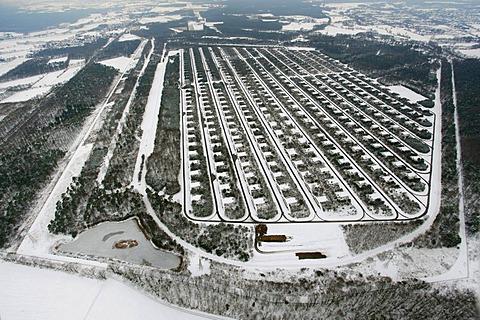 Aerial view, snow, MUNA ammunition depot Wulfen, Wenge, Dorsten, Ruhrgebiet area, North Rhine-Westphalia, Germany, Europe