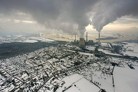 Aerial view, clouds of the Rhein power plant, Voerde coal-fired power plant, Evonik STEAG Voerde, North Rhine-Westphalia, Germany, Europe