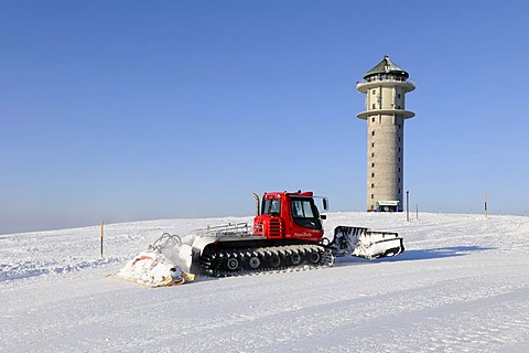Snowcat at Feldbergturm Tower on Mt Feldberg, Black Forest, Baden-Wuerttemberg, Germany, Europe