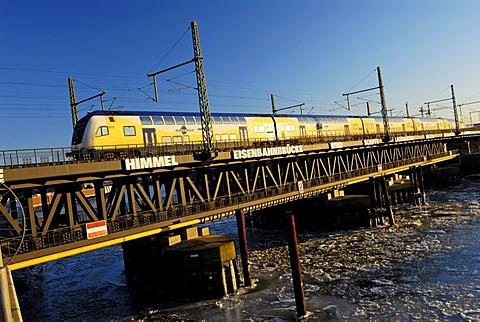 Oberhafenbruecke Bridge and rail in the Hafencity of Hamburg, Germany, Europe
