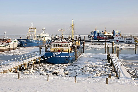 The harbour of the principal town of Wyk is almost completely frozen in winter, North Sea island of Foehr, Nationalpark Schleswig-Holsteinisches Wattenmeer, Schleswig-Holstein Wadden Sea National Park, Unesco World Heritage Site, North Frisian islands, Sc