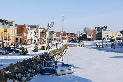 Frozen inland port, Husum, North Sea, North Frisia, Schleswig Holstein, northern Germany, Europe
