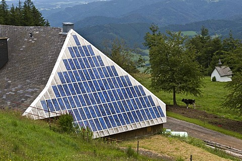 Farm with a solar installation on the roof, Black Forest, Baden-Wuerttemberg, Germany, Europe