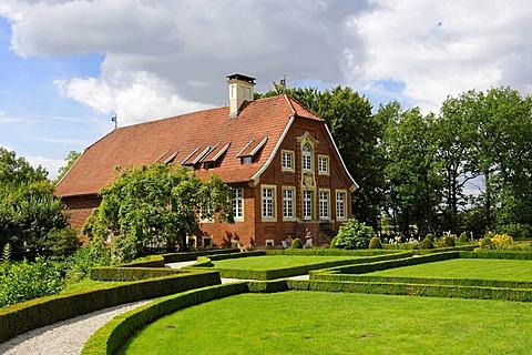 Haus Rueschhaus, built 1745-1748 by J.K. Schlaun, home of Annette von Droste-Huelshoff, Muenster, North Rhine-Westphalia, Germany, Europe