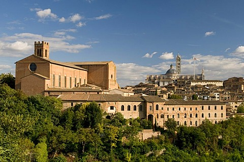 View of city with San Domenico brick basilica and Duomo Santa Maria Assunta Cathedral, Siena, Unesco World Heritage Site, Tuscany, Italy, Europe