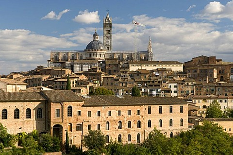 View of city with Duomo Santa Maria Assunta Cathedral, Siena, Unesco World Heritage Site, Tuscany, Italy, Europe