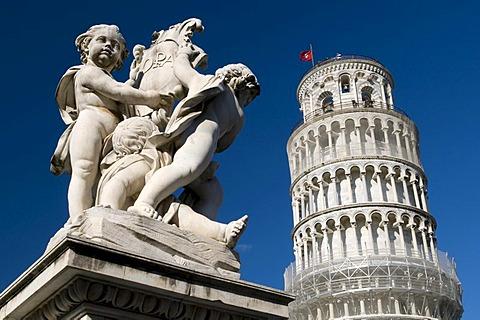 Campanile, Leaning Tower of Pisa, UNESCO World Heritage Site, statue, Pisa, Tuscany, Italy, Europe
