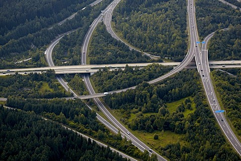 Aerial photo, Villach highway junction, Carinthia, Austria, Europe