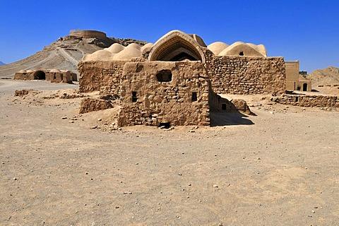 Ceremonial buildings at the Tower of Silence, Zoroastrian burial ground, Zoroastrianism, Mazdanism, Yazd, Persia, Iran, Asia