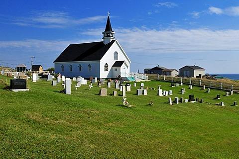 Small Anglikan church of Ile d'Entree, Entry Island, Iles de la Madeleine, Magdalen Islands, Quebec Maritime, Canada, North America