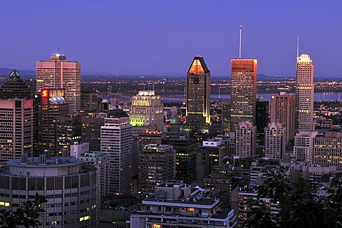 View from Mont Royal over downtown Montreal, dusk, Quebec, Canada, North America