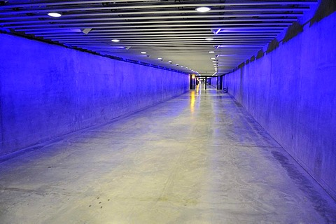 Illuminated pedestrian tunnel, walkway in the underground city of Montreal, Quebec, Canada, North America