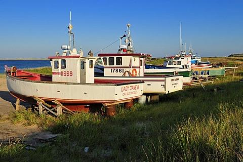 Fishingboat, lobsterboat in the harbour of Ile de Grosse Ile, Iles de la Madeleine, Magdalen Islands, Quebec Maritime, Canada, North America